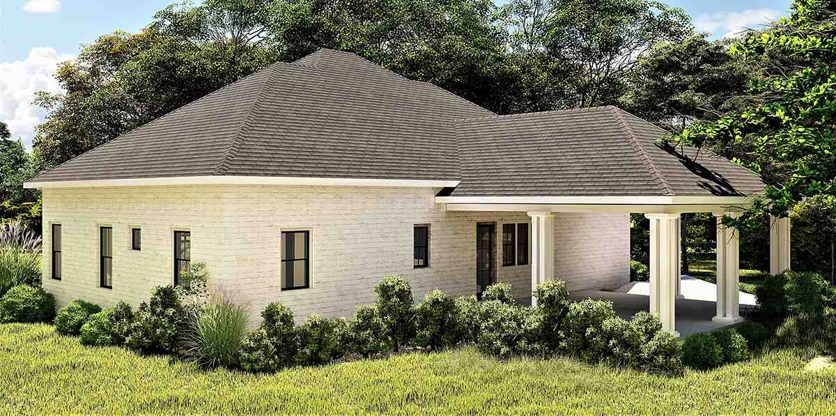 Colonial, Country, Southern House Plan 64599 with 3 Beds, 2 Baths, 2 Car Garage Rear Elevation