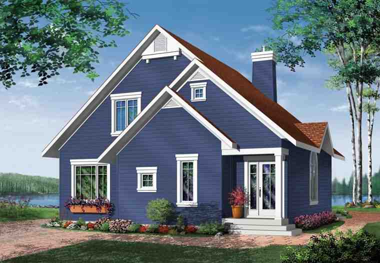 Bungalow, Contemporary, Victorian House Plan 65015 with 3 Beds, 2 Baths Rear Elevation