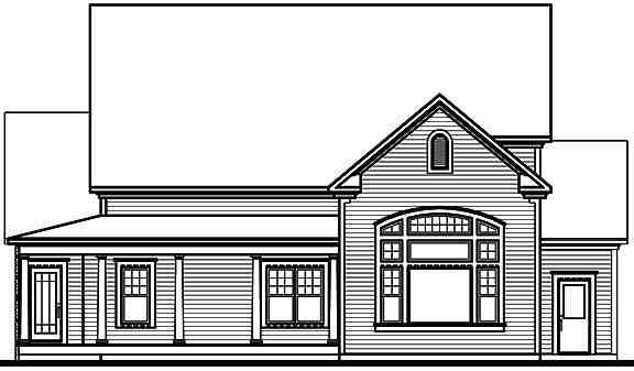 Traditional House Plan 65102 with 4 Beds, 3 Baths, 3 Car Garage Rear Elevation
