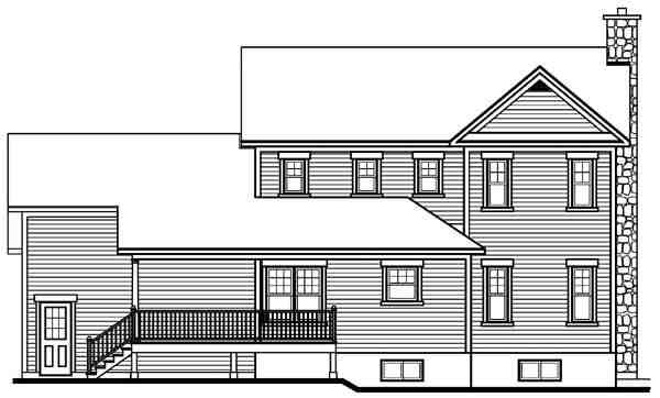 Country, Farmhouse House Plan 65135 with 3 Beds, 3 Baths, 2 Car Garage Rear Elevation