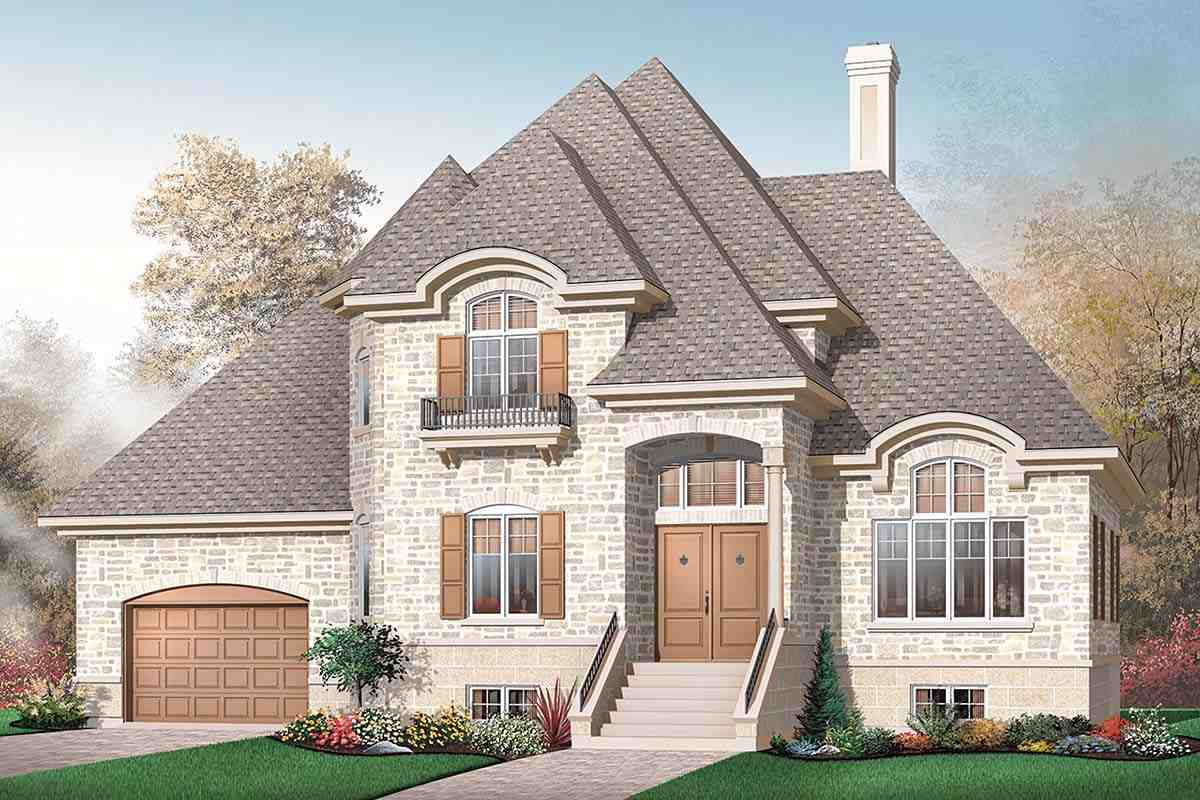 European House Plan 65233 with 3 Beds, 3 Baths, 1 Car Garage Picture 1
