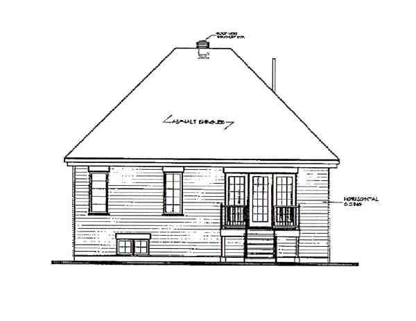 European, Victorian House Plan 65262 with 2 Beds, 1 Baths Rear Elevation