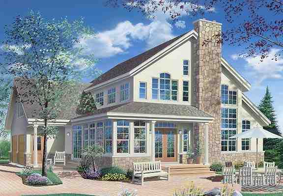 Contemporary, Traditional House Plan 65368 with 3 Beds, 3 Baths, 2 Car Garage Rear Elevation