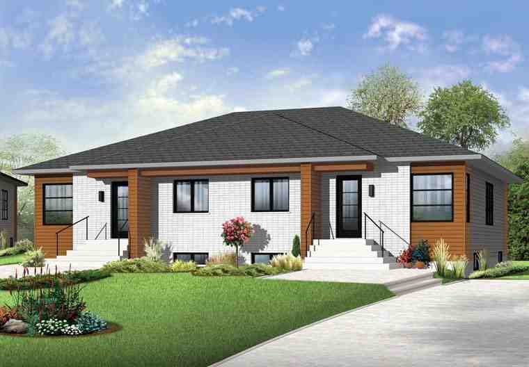 Contemporary Multi-Family Plan 65384 with 4 Beds, 2 Baths Elevation