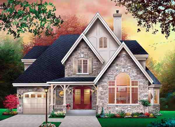 Country, European, Tudor, Victorian House Plan 65471 with 3 Beds, 2 Baths, 1 Car Garage Elevation