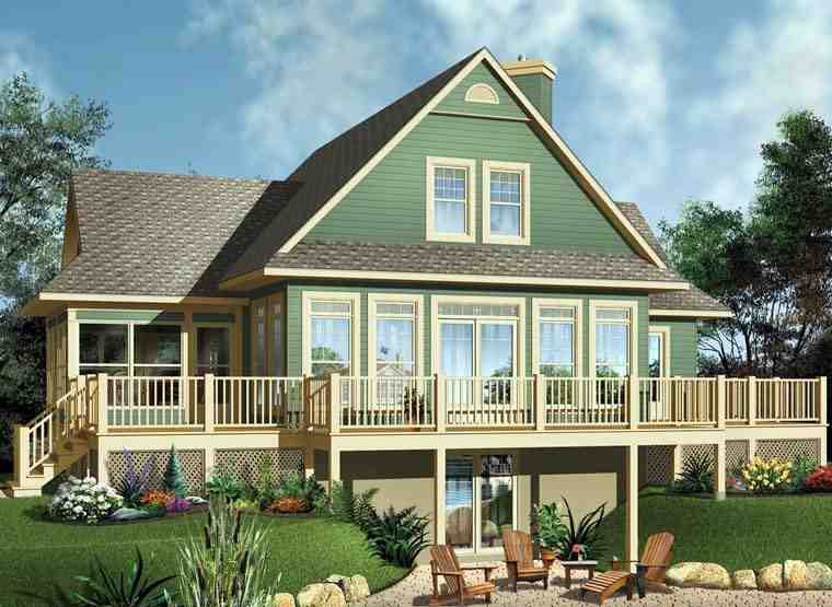 Coastal, Country, Traditional House Plan 65494 with 3 Beds, 2 Baths Elevation