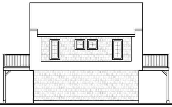 Country, Farmhouse, Ranch 2 Car Garage Apartment Plan 65516 with 2 Beds, 1 Baths Rear Elevation