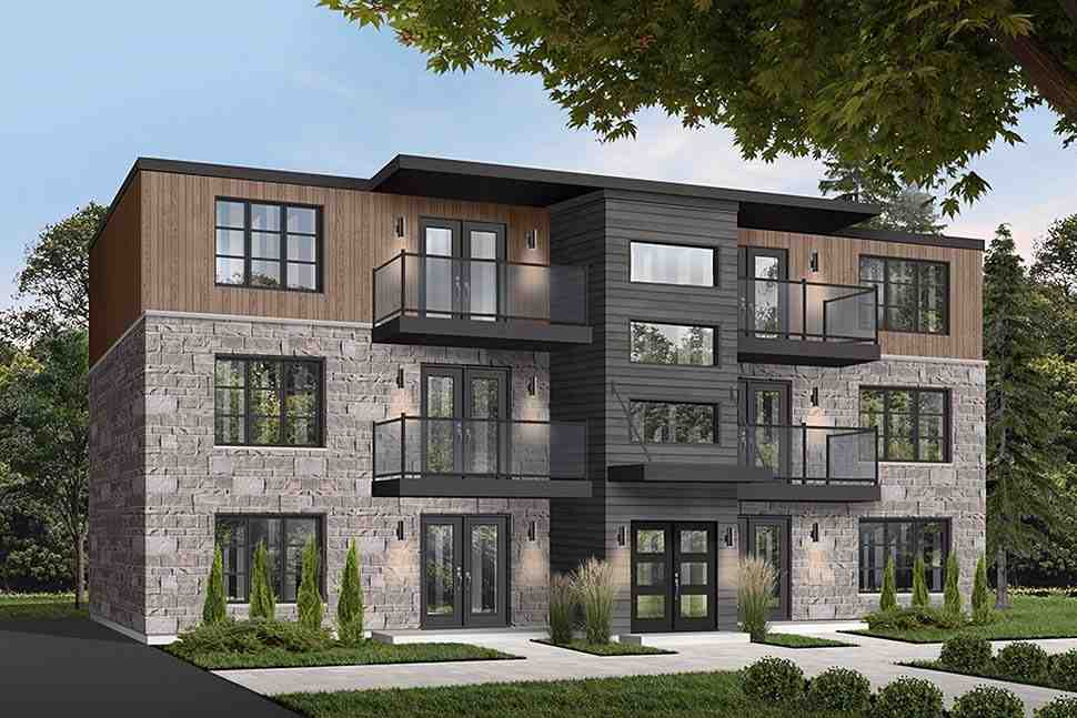 Contemporary Multi-Family Plan 65533 with 12 Beds, 6 Baths Picture 1