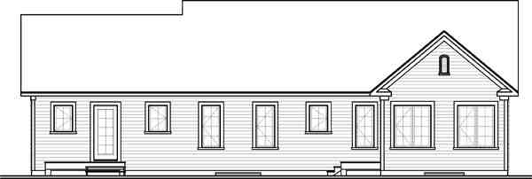 Multi-Family Plan 65574 with 3 Beds, 2 Baths Rear Elevation