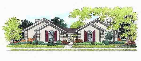 European, One-Story Multi-Family Plan 65706 with 4 Beds, 4 Baths Elevation
