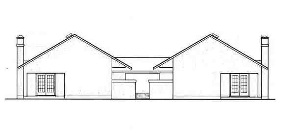European, One-Story Multi-Family Plan 65706 with 4 Beds, 4 Baths Rear Elevation