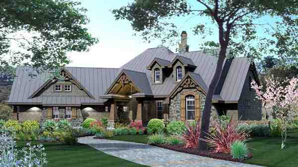 Craftsman, Tuscan House Plan 65871 with 3 Beds, 3 Baths, 2 Car Garage Picture 2