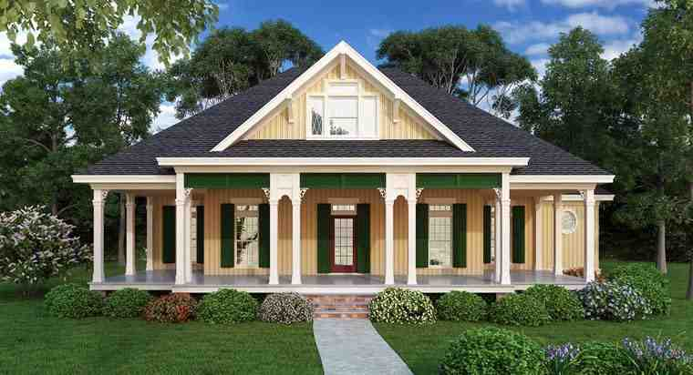 Farmhouse, Southern House Plan 65973 with 2 Beds, 2 Baths Elevation