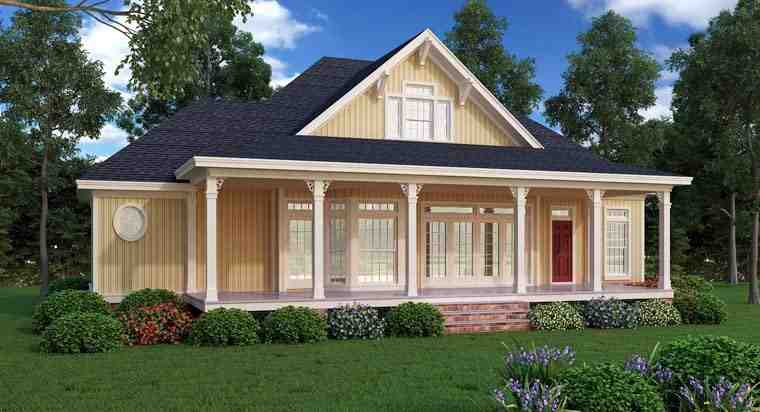 Farmhouse, Southern House Plan 65973 with 2 Beds, 2 Baths Rear Elevation