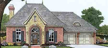 European, One-Story, Traditional House Plan 66011 with 3 Beds, 3 Baths, 3 Car Garage Elevation