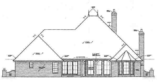 European, One-Story, Traditional House Plan 66052 with 4 Beds, 4 Baths, 3 Car Garage Rear Elevation