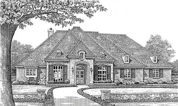 Traditional House Plan 66077 with 3 Beds, 3 Baths, 3 Car Garage Elevation
