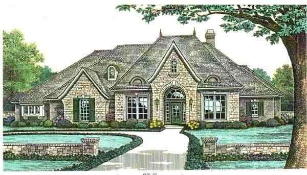 One-Story House Plan 66121 with 3 Beds, 3 Baths, 3 Car Garage Elevation
