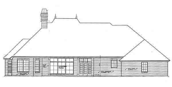 One-Story House Plan 66121 with 3 Beds, 3 Baths, 3 Car Garage Rear Elevation