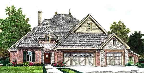 Country, European House Plan 66279 with 4 Beds, 4 Baths, 3 Car Garage Elevation