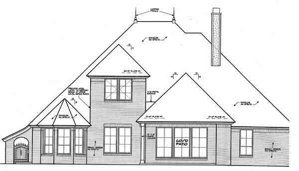 Country, European House Plan 66279 with 4 Beds, 4 Baths, 3 Car Garage Rear Elevation