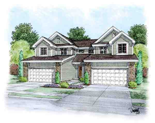 Traditional Multi-Family Plan 66648 with 6 Beds, 6 Baths, 4 Car Garage Elevation
