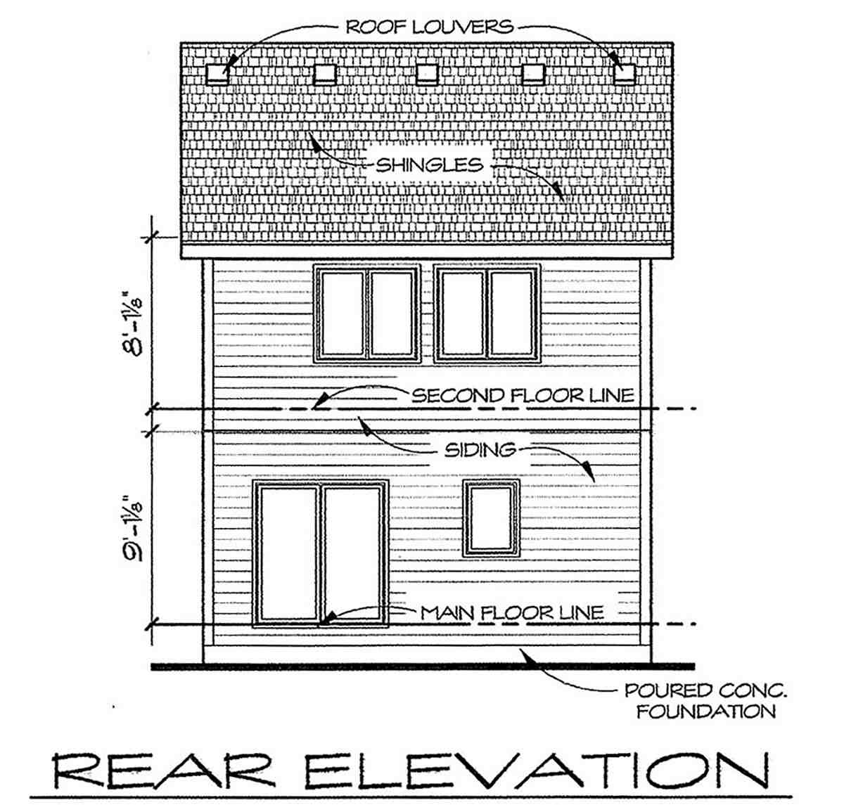 Traditional House Plan 66715 with 3 Beds, 3 Baths Rear Elevation