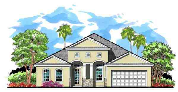 Craftsman, Florida, Traditional House Plan 66886 with 4 Beds, 3 Baths, 2 Car Garage Elevation