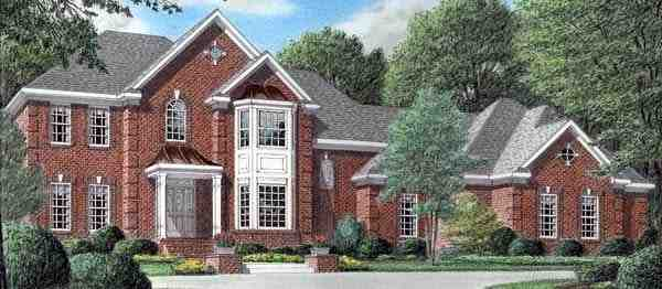 Colonial House Plan 67125 with 4 Beds, 4 Baths, 3 Car Garage Elevation
