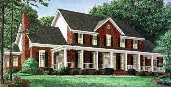 Country House Plan 67126 with 4 Beds, 3 Baths, 3 Car Garage Elevation