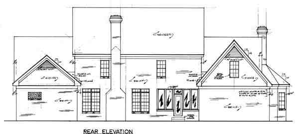 Country House Plan 67126 with 4 Beds, 3 Baths, 3 Car Garage Rear Elevation