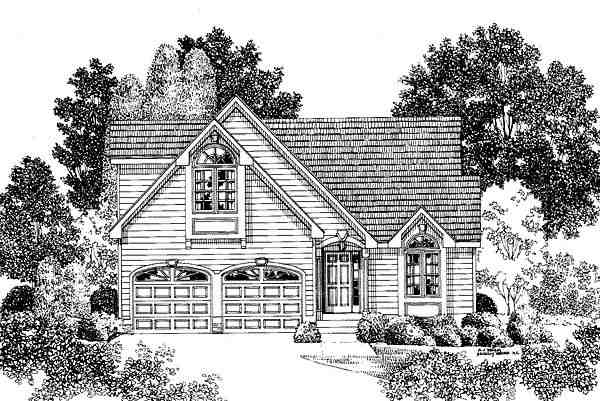 Narrow Lot, Traditional House Plan 67254 with 3 Beds, 3 Baths, 2 Car Garage Elevation