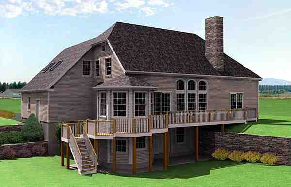 House Plan 67285 with 3 Beds, 3 Baths, 2 Car Garage Rear Elevation