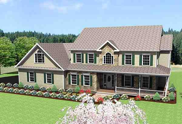 Farmhouse House Plan 67288 with 3 Beds, 3 Baths, 2 Car Garage Elevation