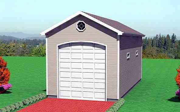 1 Car Garage Plan 67305 Elevation