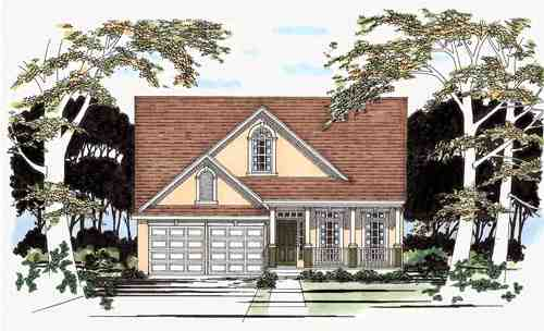 Narrow Lot, Traditional House Plan 67672 with 4 Beds, 3 Baths, 2 Car Garage Elevation