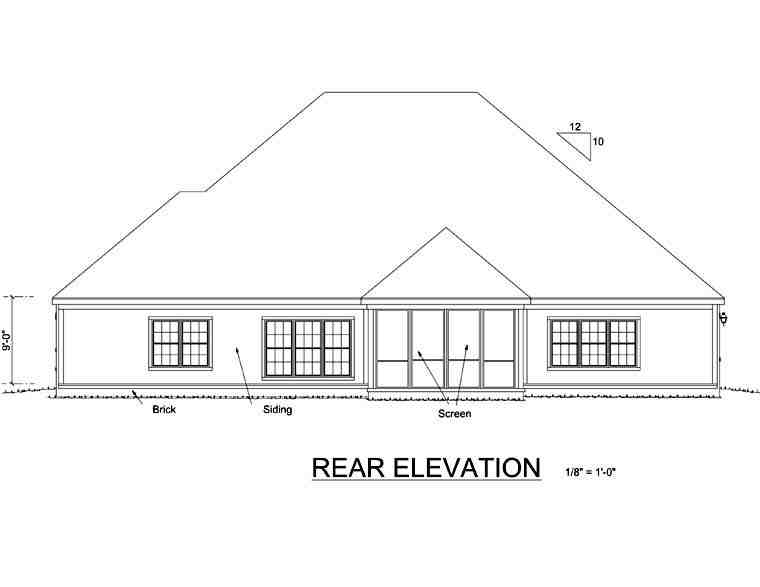 Colonial, Traditional House Plan 67881 with 4 Beds, 3 Baths, 2 Car Garage Rear Elevation