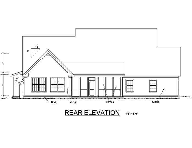 Country House Plan 67883 with 4 Beds, 3 Baths, 2 Car Garage Rear Elevation
