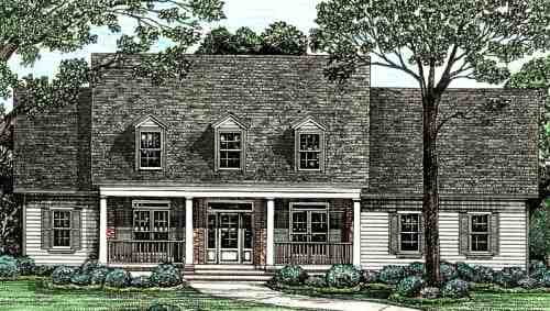 Cape Cod, Country, Southern House Plan 68128 with 4 Beds, 4 Baths, 3 Car Garage Elevation