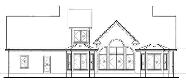 Cape Cod, Country, Southern House Plan 68128 with 4 Beds, 4 Baths, 3 Car Garage Rear Elevation