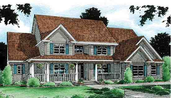 Country, Southern House Plan 68154 with 4 Beds, 4 Baths, 3 Car Garage Elevation