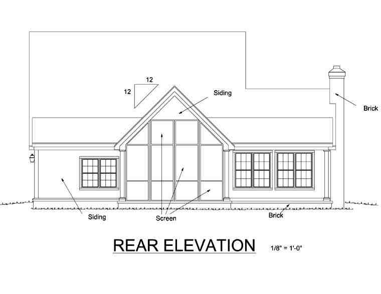 Country, Farmhouse House Plan 68170 with 3 Beds, 3 Baths, 2 Car Garage Rear Elevation