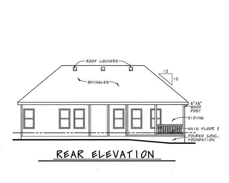 Traditional House Plan 68233 with 3 Beds, 2 Baths, 2 Car Garage Rear Elevation