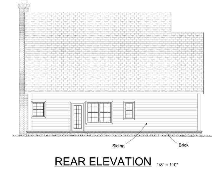 Cape Cod, Country, Southern House Plan 68341 with 3 Beds, 3 Baths, 2 Car Garage Rear Elevation