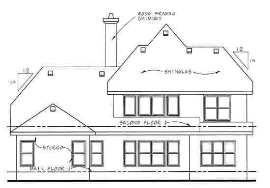 Country House Plan 68342 with 4 Beds, 4 Baths, 2 Car Garage Rear Elevation