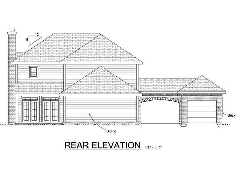 Colonial, Southern House Plan 68349 with 4 Beds, 3 Baths, 3 Car Garage Rear Elevation