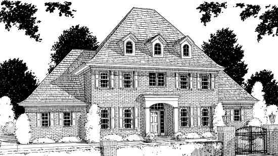 Colonial, French Country, Greek Revival House Plan 68441 with 4 Beds, 4 Baths, 2 Car Garage Elevation