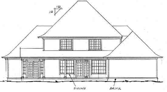 Colonial, French Country, Greek Revival House Plan 68441 with 4 Beds, 4 Baths, 2 Car Garage Rear Elevation