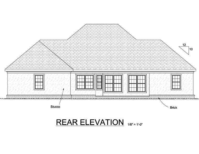 Colonial, Greek Revival House Plan 68466 with 3 Beds, 2 Baths, 2 Car Garage Rear Elevation