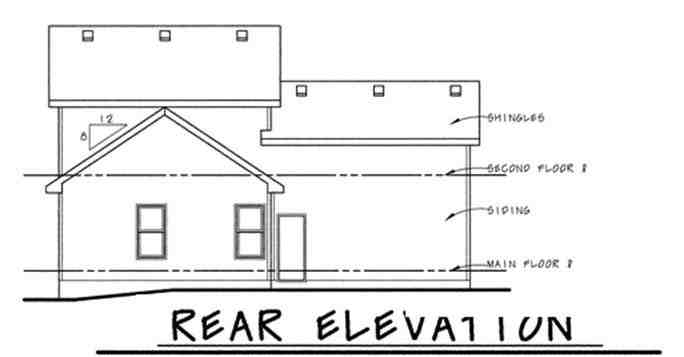 Traditional House Plan 68845 with 3 Beds, 3 Baths, 2 Car Garage Rear Elevation